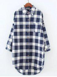 Plus Size High Low Checkered Print Shirt -