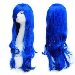Long Slightly Curled Side Bang Parrucca Piena Cosplay Synthetic Wig - BLUE
