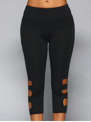Elastic Waist Cut Out Skinny Pants - BLACK