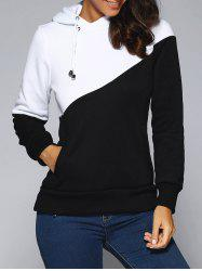 Contrast Color Spliced Pocket Design Hoodie - WHITE AND BLACK