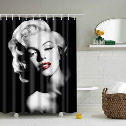 Polyester Mouldproof Lady Design Shower Curtain - BLACK
