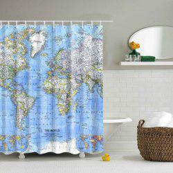 World Map Printed Polyester Waterproof  Shower Curtain -