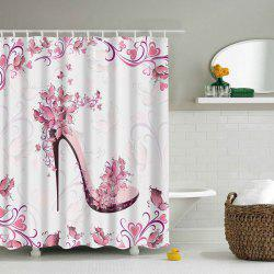 Waterproof Printing Floral High Heeled Shoes Shower Curtain - PINK S
