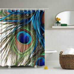 Peacock Feather Printing Waterproof Shower Curtain - COLORMIX