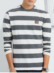 Long Sleeve Round Collar Striped Tee