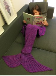 Comfortable Flounced Design Knitted Mermaid Tail Blanket - PURPLE