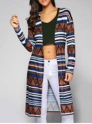 Collarless Printed Long Cardigan - KHAKI