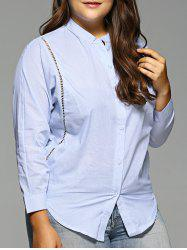 Plus Size Openwork Striped Shirt - BLUE 5XL