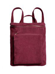 Leisure Suede Zips Backpack - WINE RED