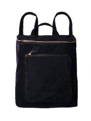 Leisure Suede Zips Backpack - BLACK
