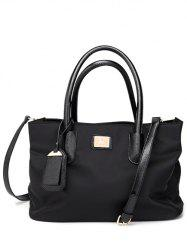 PU cuir Spliced ​​Métal Nylon Tote Bag - Noir
