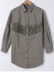 Fringe Embellished Long Shirt -