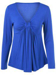 V Neck Ruffled T-Shirt -