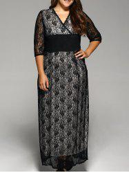 Empire Waist Plus Size Lace Maxi Prom Dress