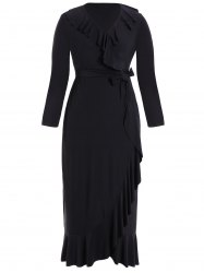 Flounce manches longues Wrap Dress