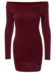 Long Sleeve Off-The-Shoulder Knitted Bandage Dress - BURGUNDY