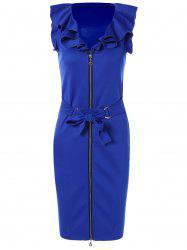 Belted Zip Up Pencil Dress -