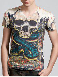 V-Neck 3D Skull and Snake Print Short Sleeve T-Shirt - COLORMIX