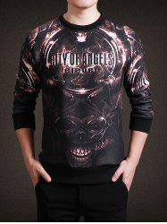 Round Neck 3D Metal Skull and Letter Print Long Sleeve Sweatshirt