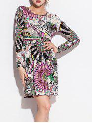 Geometric Pinwheel Print Long Sleeve Pleated Dress - COLORMIX