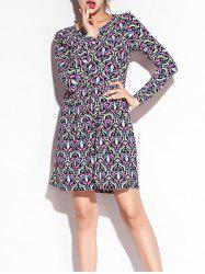 Ornate Print Long Sleeve Pleated Dress