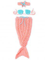 Baby Photography Prop Crochet Three-Piece Mermaid Blanket -