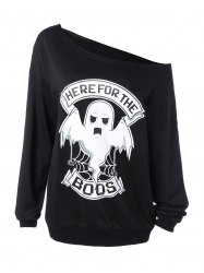 Skew Collar Ghost Print Halloween Sweatshirt