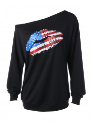 Skew Collar American Flag Print Sweatshirt - BLACK XL