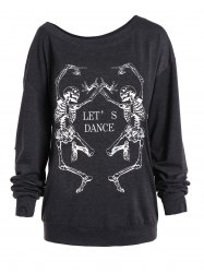 Skew Collar Skeleton Print Halloween Sweatshirt - DEEP GRAY
