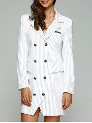 Double Breasted Striped Trench Coat - WHITE