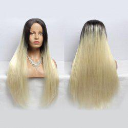 Long Straight Centre Parting Synthetic Double Color Lace Front Wig - BLACK AND GOLDEN