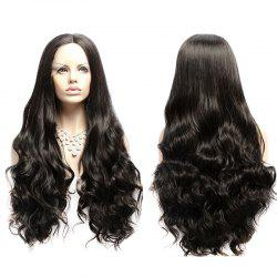 Long Fluffy Wavy Middle Part Lace Front Synthetic Wig -