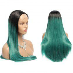 Side Parting Long Straight Synthetic Double Color Lace Front Wig - BLACK AND GREEN