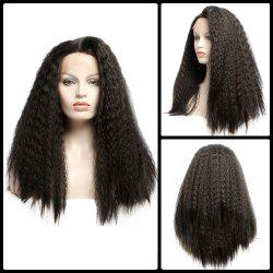 Faddish Long Fluffy Curly Lace Front Synthetic Wig - BLACK