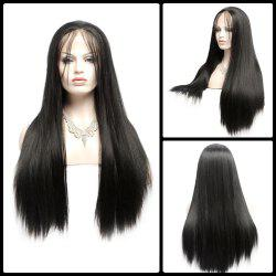 Long Side Bang Yaki Straight Lace Front Synthetic Wig - BLACK