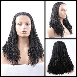 Gorgeous Long Braided With Curly Synthetic Lace Front Wig