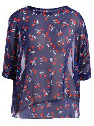 Round Neck Cherry Print Plus Size Chiffon Blouse -