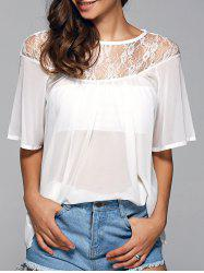 Round Neck See-Through Lace Spliced Blouse -