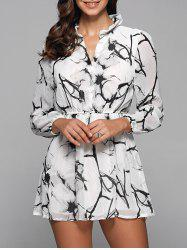 Ruff Collar Long Sleeve Chinese Painting Print Shirt Dress