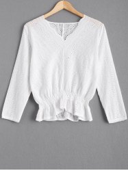 Hollow Out Flounce Lace Spliced Blouse -