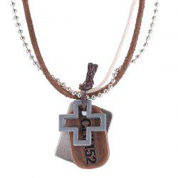 Faux Leather Layered Hollow Plus Necklace -