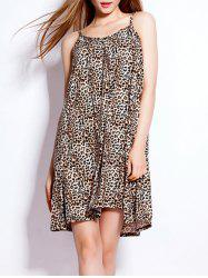 Loose-Fitting Leopard Spaghetti Strap Dress -