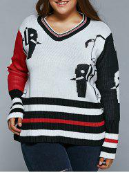 Striped Cartoon Jacquard Pullover Sweater - WHITE