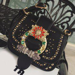 Buckle Beading Rhinestone Rivet Crossbody Bag