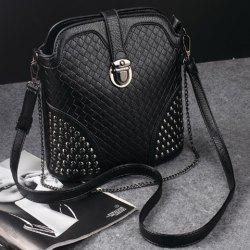 Chain Woven Pattern Rivets Crossbody Bag