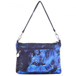 Color Splicing Map Print Nylon Crossbody Bag -