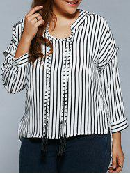 Pinstriped Loose Tassels Blouse -