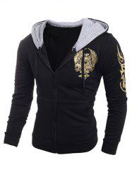 Printing Hooded Zip-Up Drawstring Hoodie -