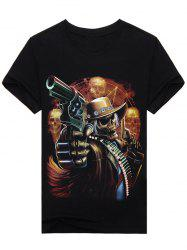 3D Skull Gunner Print Round Neck Short Sleeve T-Shirt - BLACK