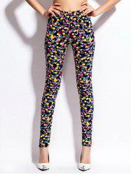 Multicolor Printed Skinny Elastic Waist Leggings